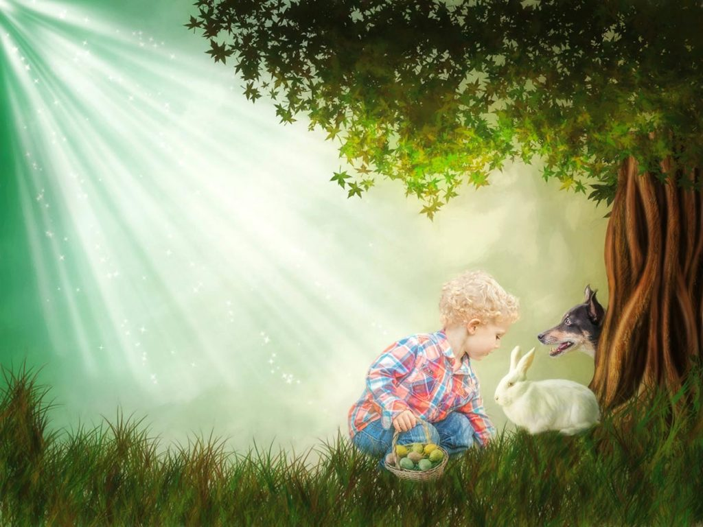 reverie series fantasy pet portrait of little boy with easter basket bunny and dog