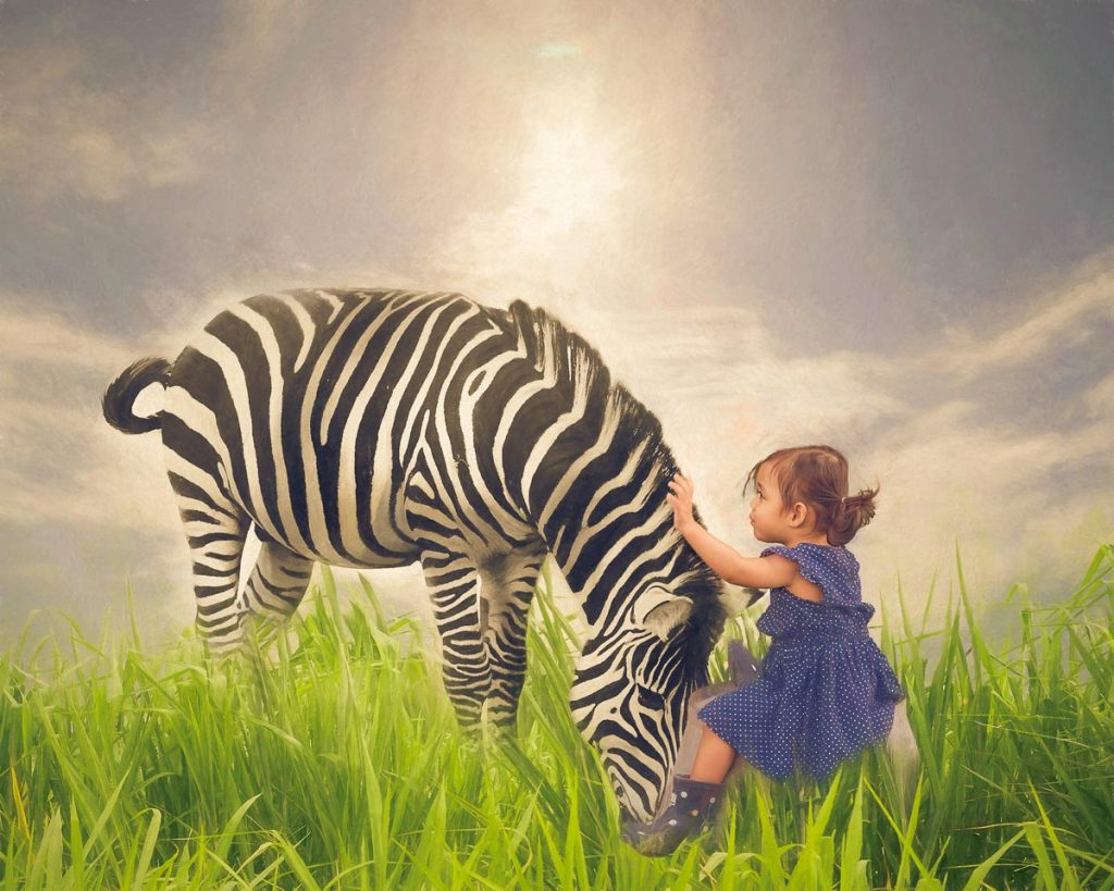reverie series fantasy pet portrait of little girl and zebra
